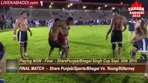 FINAL – Sunday Sept. 20th – Shere Punjab Sports/Bhagat Singh Cup – Canada Kabaddi 2015